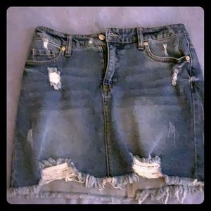 Above the knee jean skirt
